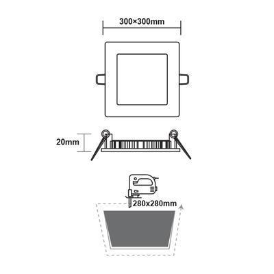 Zapuštěný LED panel 24W 300x300 mm - 3