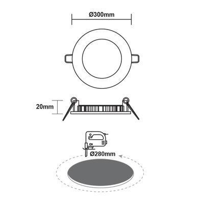 Zapuštěný LED panel 24W O300 mm - 3