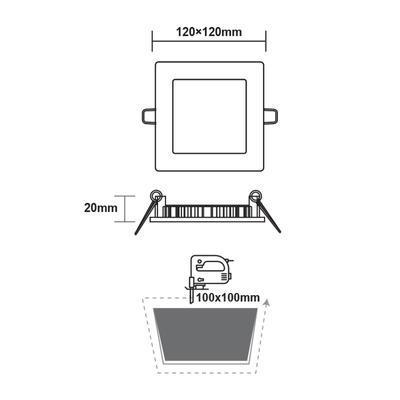 Zapuštěný LED panel 6W 120x120 mm - 3