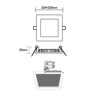 Zapuštěný LED panel 18W 225x225 mm - denní bílá - 3