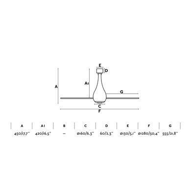 """Stropní ventilátor MINI ETERFAN - 50,4"""" - reverzní - 3"""