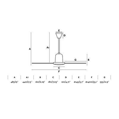 """Stropní ventilátor INDUS - 55,1"""" - 3"""