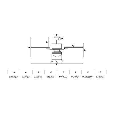 """Stropní ventilátor LOMBOK - 52"""" - reverzní - 3"""