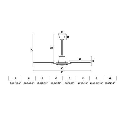 "Stropní ventilátor MALVINAS - 55,1"" - reverzní - 3"