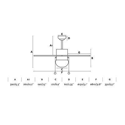 """Stropní ventilátor PALAO - 31,8"""" - reverzní - 3"""