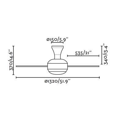 """Stropní ventilátor UFO - 51,9"""" - reverzní - 3"""