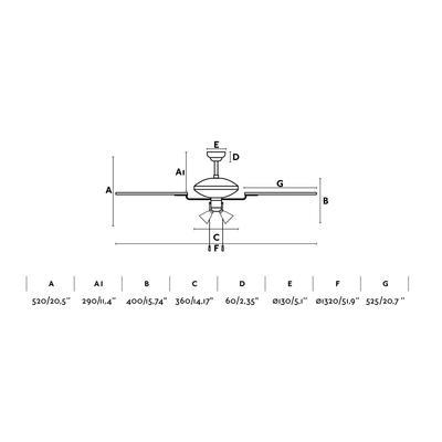 """Stropní ventilátor CORSO - 52"""" - reverzní - 3"""
