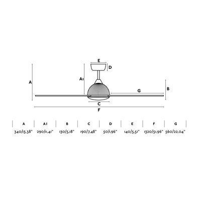 """Stropní ventilátor GRID - 52"""" - reverzní - 3"""