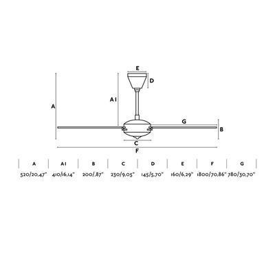 "Stropní ventilátor AOBA - 70,86"" - 3"