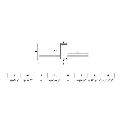 """Stropní ventilátor MINI TUBE FAN  50,4"""" - reverzní - 3"""