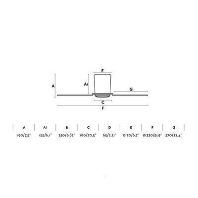 """Stropní ventilátor PEMBA - 52"""" - reverzní - 3"""