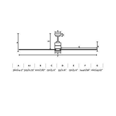 """Stropní ventilátor MANHATTAN - 96"""" - reverzní - 3"""