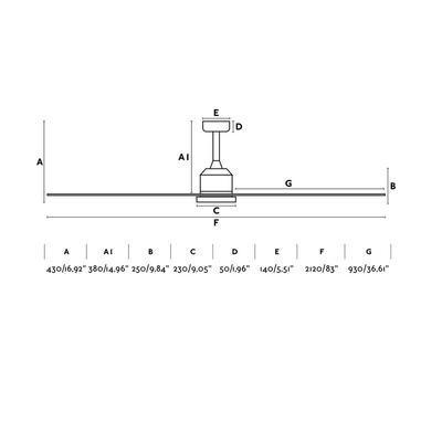 """Stropní ventilátor CIES - 83"""" - reverzní - 3"""