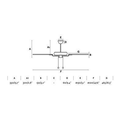 """Stropní ventilátor YAKARTA - 47,6""""  - reverzní - 3"""