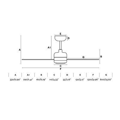 """Stropní ventilátor NU LED - 52"""" - reverzní - 3"""