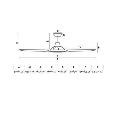 """Stropní ventilátor MENO - 53,54"""" - reverzní - 3"""