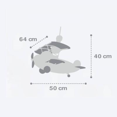 Dětské závěsné svítidlo Star Plane, šedá - 3