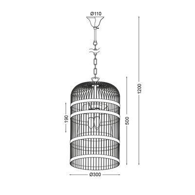 Závěsné svítidlo Bird Cage -1 - S - 4