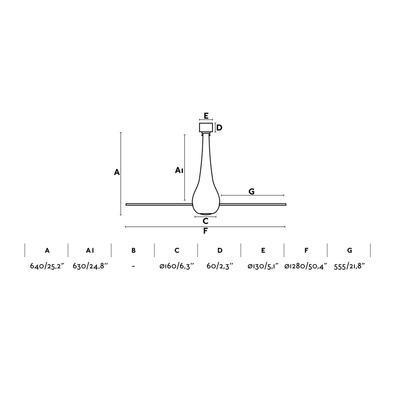 """Stropní ventilátor ETERFAN - 50,4"""" - reverzní - 4"""