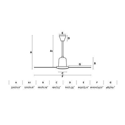 """Stropní ventilátor ECO INDUS - 47,2"""" - reverzní - 4"""