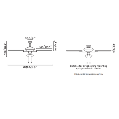 """Stropní ventilátor CORSO - 52"""" - reverzní - 4"""