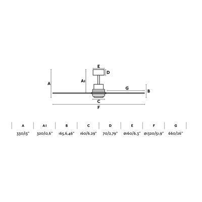 """Stropní ventilátor LANTAU - 52"""" - reverzní - 4"""