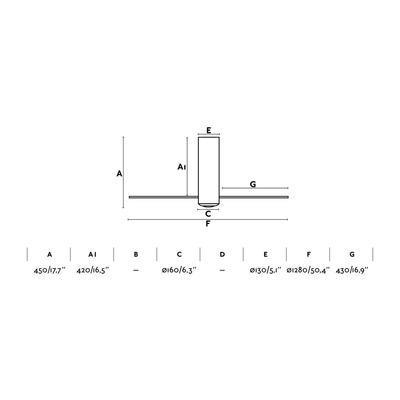 """Stropní ventilátor TUBE FAN - 50,4"""" - reverzní - 4"""