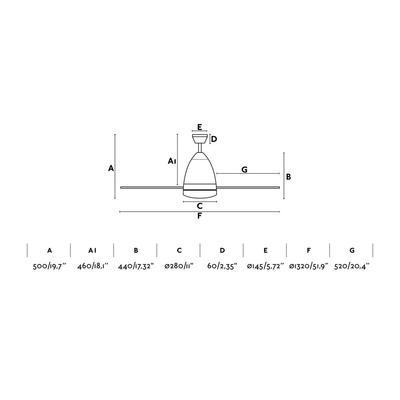 "Stropní ventilátor FARETTO - 52"" - reverzní - 4"