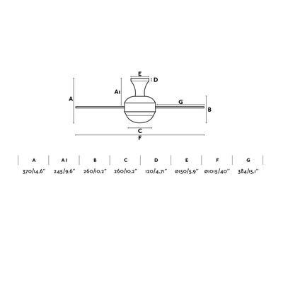 """Stropní ventilátor MINI UFO - 40"""" - reverzní - 4"""