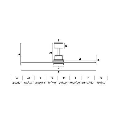 """Stropní ventilátor LANTAU-G LED - 66,1"""" - reverzní - 4"""
