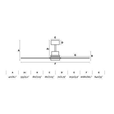 """Stropní ventilátor LANTAU-G - 66,1"""" - reverzní - 4"""