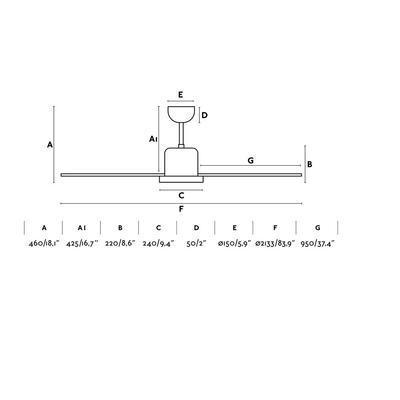 """Stropní ventilátor ANDROS - 83,9"""" - reverzní - 4"""