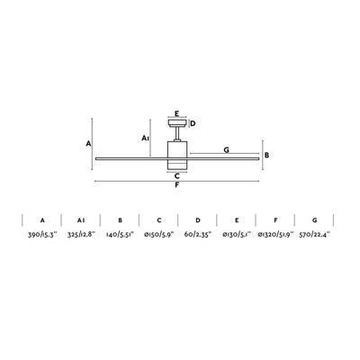 """Stropní ventilátor PALK - 52"""" - reverzní - 4"""
