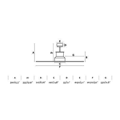 """Stropní ventilátor WINCHE - 50"""" - reverzní - 4"""
