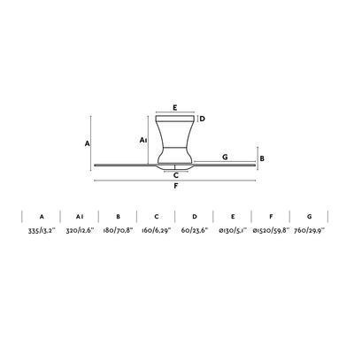 """Stropní ventilátor LAMA - 59,8"""" - reverzní - 4"""