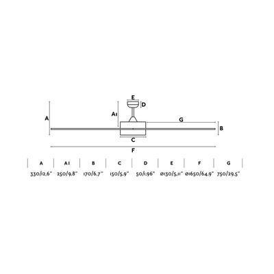 """Stropní ventilátor CENTURY LED - 65"""" - reverzní - 4"""