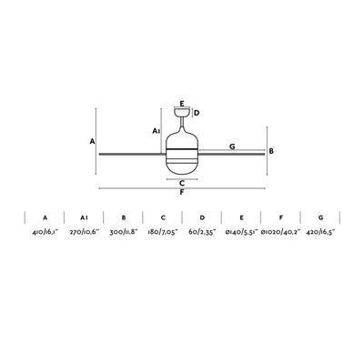 """Stropní ventilátor - CEBU - 40,2"""" -  reverzní - 4"""