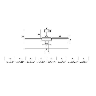 """Stropní ventilátor FACTORY - 41,7"""" - reverzní - 4"""
