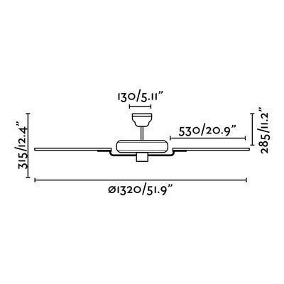 """Stropní ventilátor ALOHA - 52"""" - reverzní - 4"""