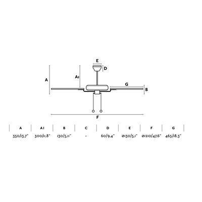 """Stropní ventilátor YAKARTA - 47,6""""  - reverzní - 4"""