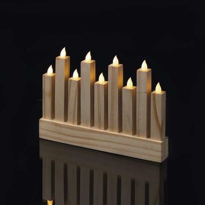 Dekorativní LED svícen 8 - dřevo - 4