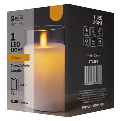 Dekorativní LED svíčka ve skle 12,5cm - bílá - 4