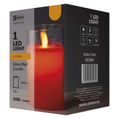 Dekorativní LED svíčka ve skle 12,5cm - červená - 4