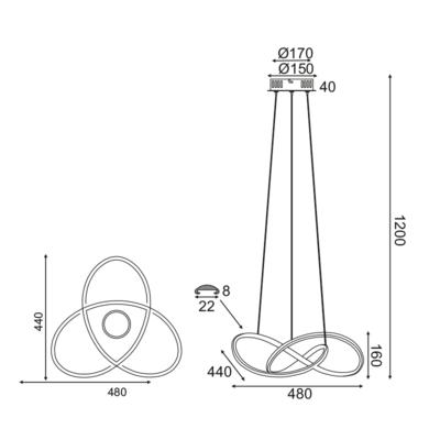 Závěsné LED svítidlo Tangle 3 - 5