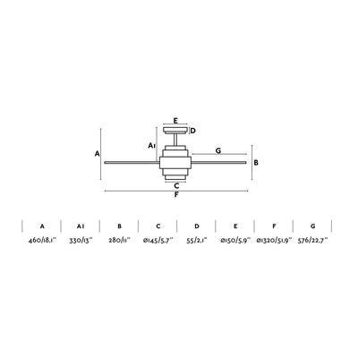 """Stropní ventilátor DISC FAN LED - 52"""" - reverzní - 5"""