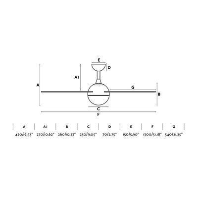 """Stropní ventilátor IZARO - 51,18"""" - reverzní - 5"""