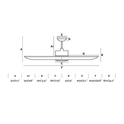 """Stropní ventilátor TONIC LED - 59,8"""" - reverzní - 5"""