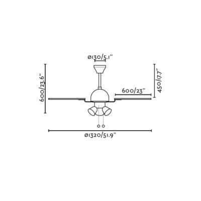 """Stropní ventilátor CUBA - 52"""" - reverzní - 6"""