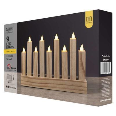 Dekorativní LED svícen 8 - dřevo - 6
